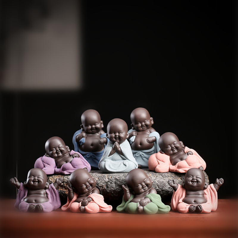 On Sales One Piece Yixing Zisha Tea Pet Creative Monk Buddha Statue Small Size Purple Clay Tea Play Smiling Ornament In China