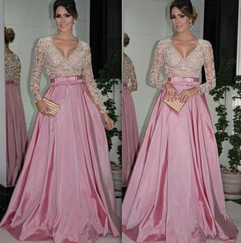 Sexy Long Sleeve Lace Sequin Dubai Style A Line Formal Arabic Evening prom Gown robe de soiree 2018 mother of the bride dresses short prom gown 2018 custom sexy women a line v neck beaded lace long sleeve vestidos de formatura mother of the bride dresses