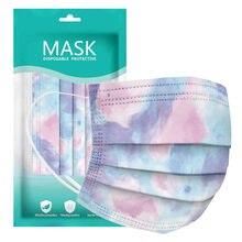 Masques De protection faciale à usage unique pour adultes, avec teinture par nouage, 3 plis, sûrs et respirants, 10 à 100 pièces