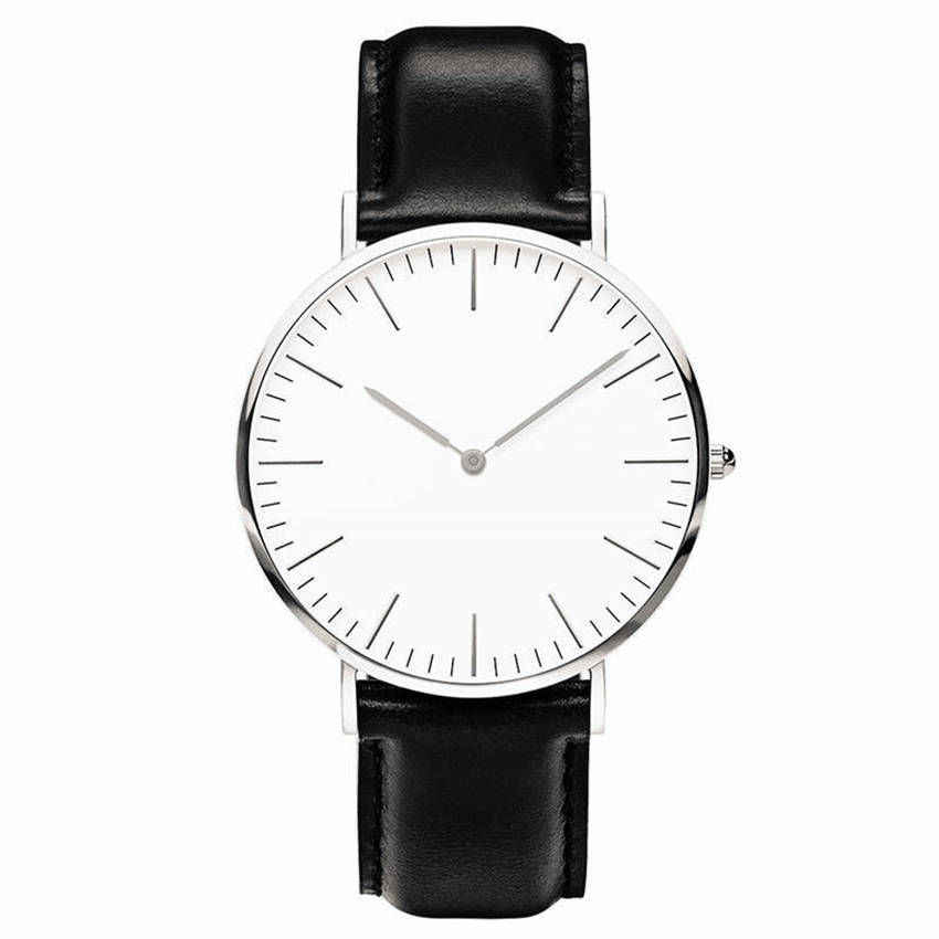 Simple Style Quartz Clock No Logo Ultra-thin Military Army Leather Watches