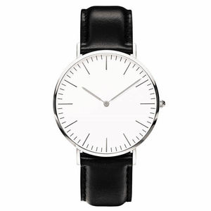 Simple Style Quartz Clock No Logo Ultra-thin Military Army Leather Watches(China)