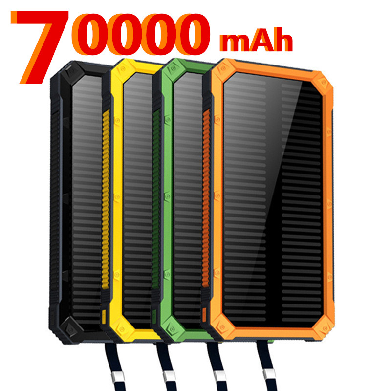 For XIAOMI Iphone 70000mah Portable <font><b>Solar</b></font> <font><b>Power</b></font> <font><b>Bank</b></font> <font><b>20000mAh</b></font> <font><b>External</b></font> <font><b>Battery</b></font> DUAL Ports powerbank Charger Mobile Charger image