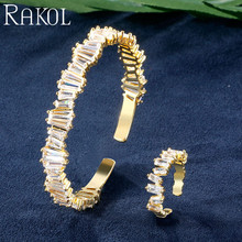 RAKOL Fashion Baguette Cubic Zirconia Bracelet Ring Jewelry Set For Women Girl Party Even Clothes Anniversary Gift RS03014
