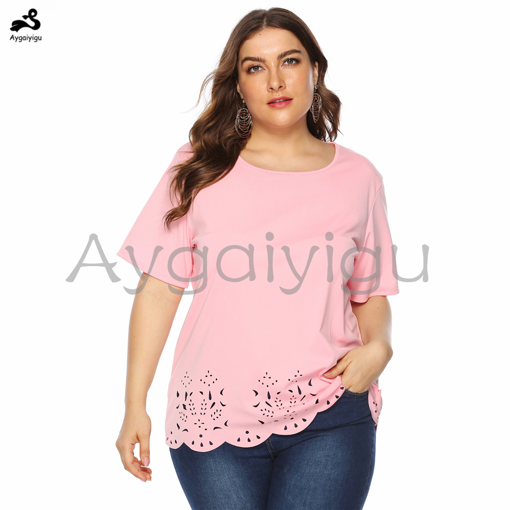 Aygaiyigu Women Tops Large Big Size Ladies Casual Shirts Plus Size Solid Burn-out Clothing Fashion Simple Hollow Out Blouses