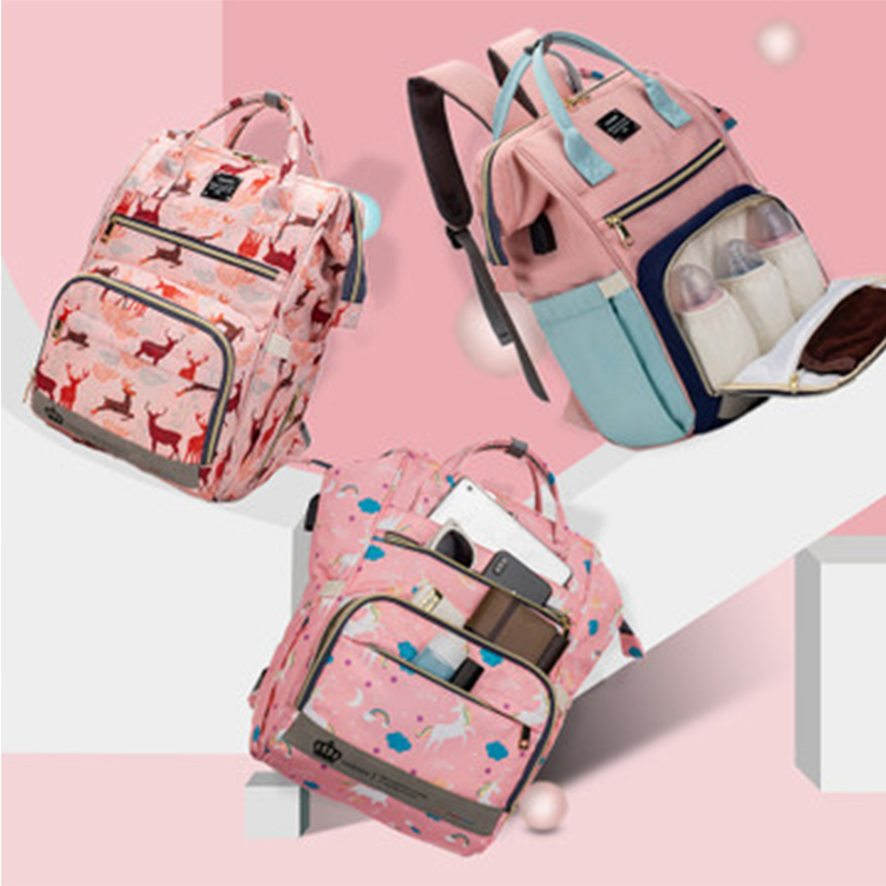 LEQUEEN Diaper Bag USB Mummy Maternity Fashion Large Capacity Nappy Bag Stroller Nursing Bag for Baby Care Travel Backpack