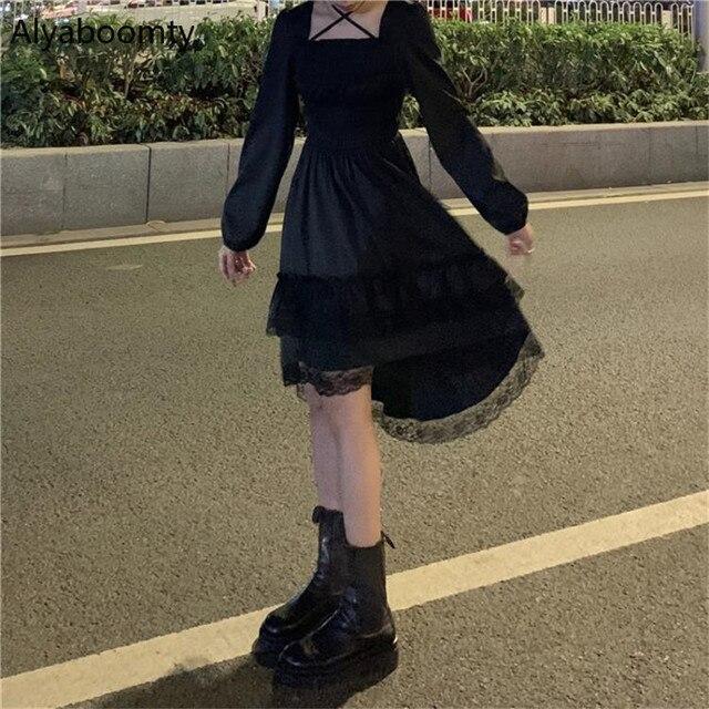 New Gothic Women Black Fairy Party Dress Cross Square Collar Lolita Princess Irregular Dress Cute Kawaii Lace Ruffles Chic Dress 1