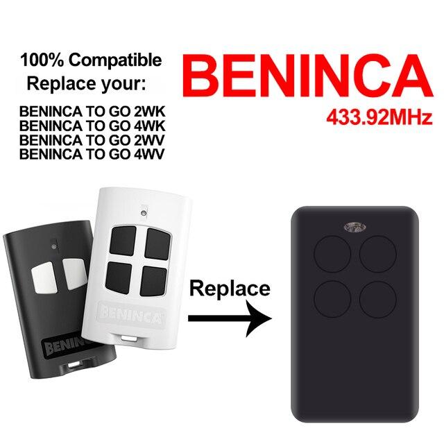 Beninca שער מוסך שליטה Beninca ללכת 2WV 4WV 2wk 4wk 433.92MHz שלט רחוק שיבוט Beninca מרחוק בקר מעתק