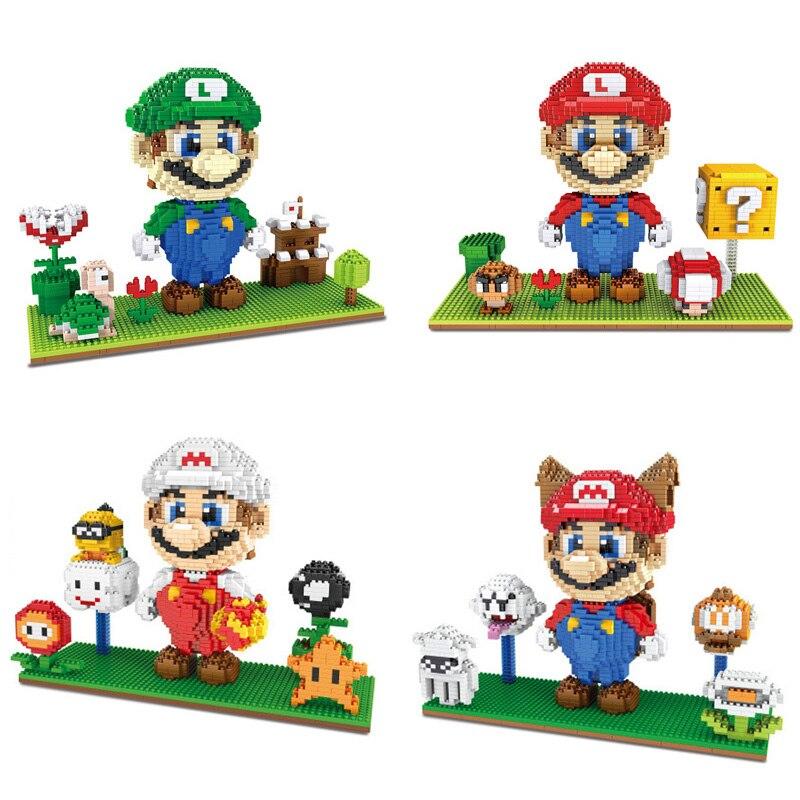 Classic Game Image Micro Diamond Building Block Nintendoes Squirrel White Super Mario Bros 3D Scenes Luigi Nanobricks Toys