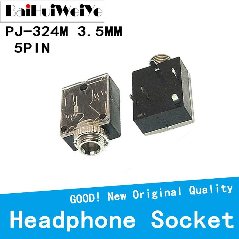 20PCS/LOT PJ324M 5 Pin 3.5mm Stereo Audio Jack Socket PCB Panel Mount for Headphone With Nut PJ-324M