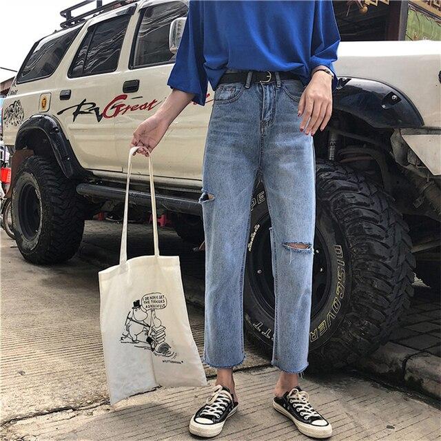 Vaqueros lisos de moda para mujer, pantalones vaqueros femeninos elegantes, fáciles de combinar, de alta calidad, estilo coreano, holgados, de uso diario, con 2020 agujeros