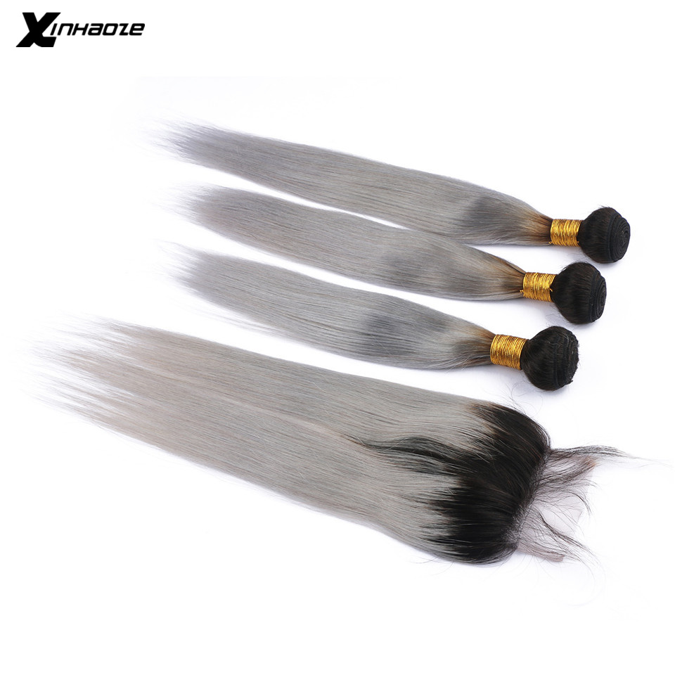 Xinhaoze 1B Grey Ombre Brazilian Straight Human Hair Bundles With Closure Remy Hair Extensions With Lace Frontal Closure