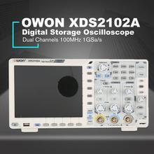 OWON XDS2102A двухканальный Глубокая память ЖК-дисплей Дисплей цифровой запоминающий осциллограф, осциллоскоп измеритель диапазона 100 МГц 1GSa/s