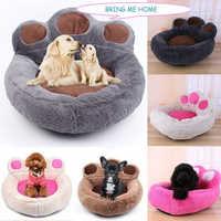 Nette Winter Warme Fleece Hund Bett Runde Kleine Medium Large Hund Betten Extra Große Pet Plüsch Matten Weiches Bärentatze geformt Katzen Haus
