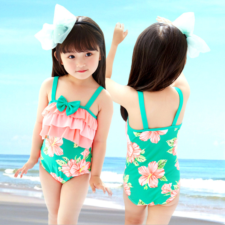 Korean-Style INS Infants Baby Printed One-piece KID'S Swimwear Children Cute GIRL'S Students Swimwear Hot Springs