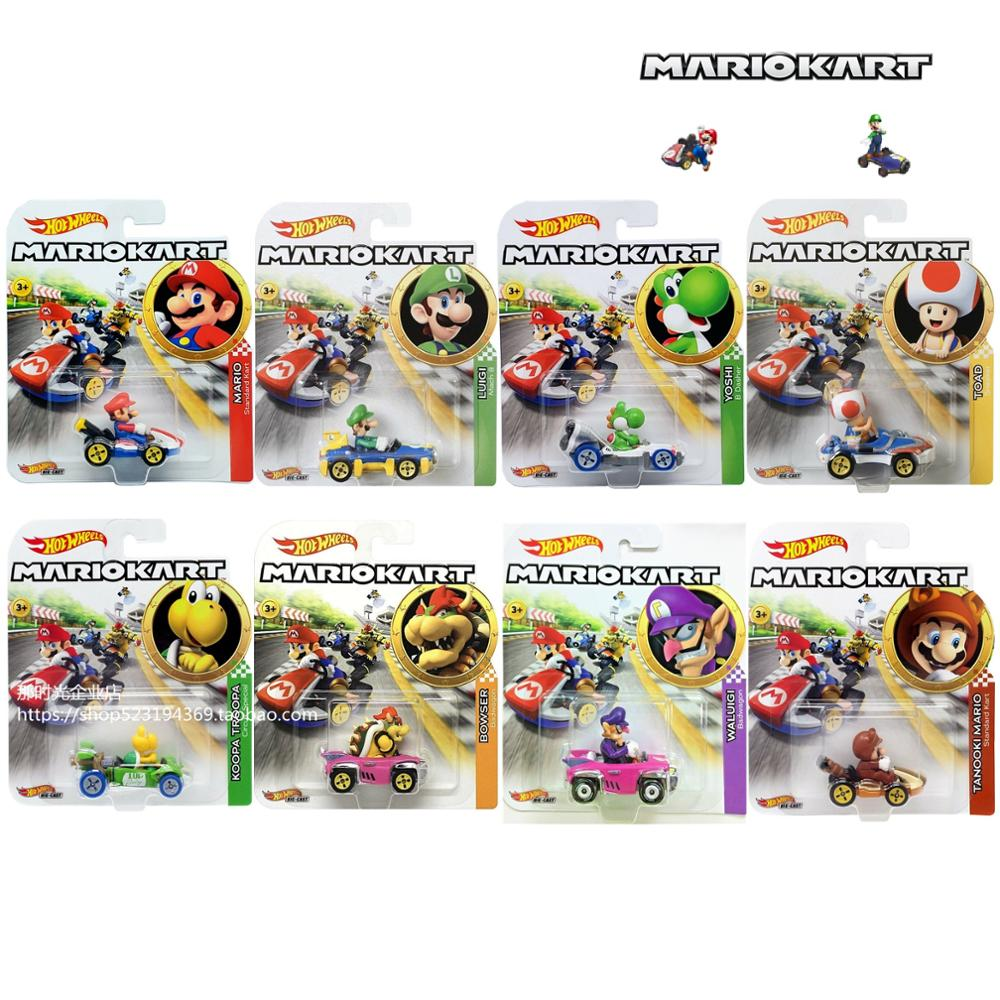 Hot Wheels Mario Kart 1/64 Car Mario Luigi Yoshi Toad  Collector Edition Metal Diecast Model Car Kids Toys
