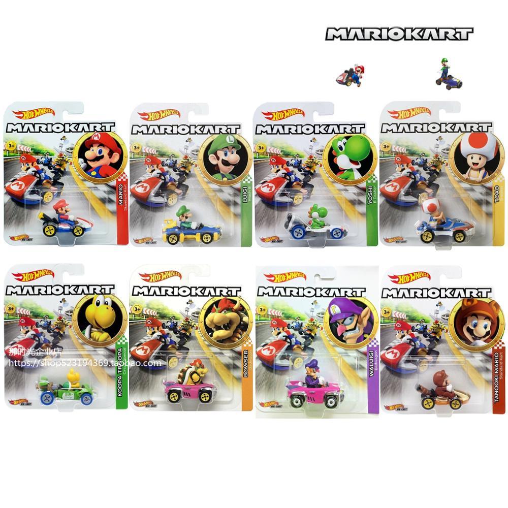 Hot Wheels Mario Kart 1/64 Car Mario Luigi Yoshi Toad  Collector Edition Metal Diecast Model Car Kids Toys