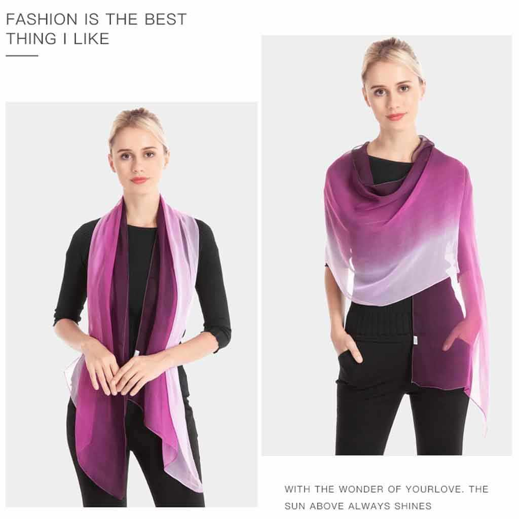 Gradiente chiffon panelled senhoras cachecóis luz gradiente xale georgette fina praia envolve moda lenço de seda chiffon hijab # za