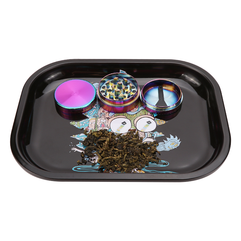 Metal Tin Rolling Tray 18cm*14cm Smoking Accessories Tobacco Rolling Papers Herb Grinder Small Tray Tobacco Storage Plate 4