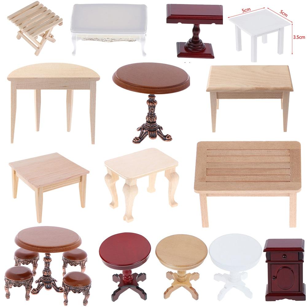 1:12 Dollhouse Furniture Miniature Wood Plastic Teatable Coffee Table Living Room Kid Toy Miniature Dolls Simulation Home Toy