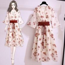 Women's dress Japanese summer chiffon cute floral lace high waist traf Maiden Dresses fashion retro V-neck lace y2k Female dress