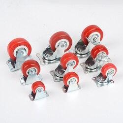 Красные пластиковые рельсовые фиксированные ролики, бесшумное универсальное колесо с тормозом, маленькая тележка, замена мебели, фурнитур...