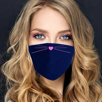 Women Cute Cat Face Print Antidust Windproof Face Mask Outdoor Cycling Sports Party Mask Breathable Reusable Mask mascarilla 1