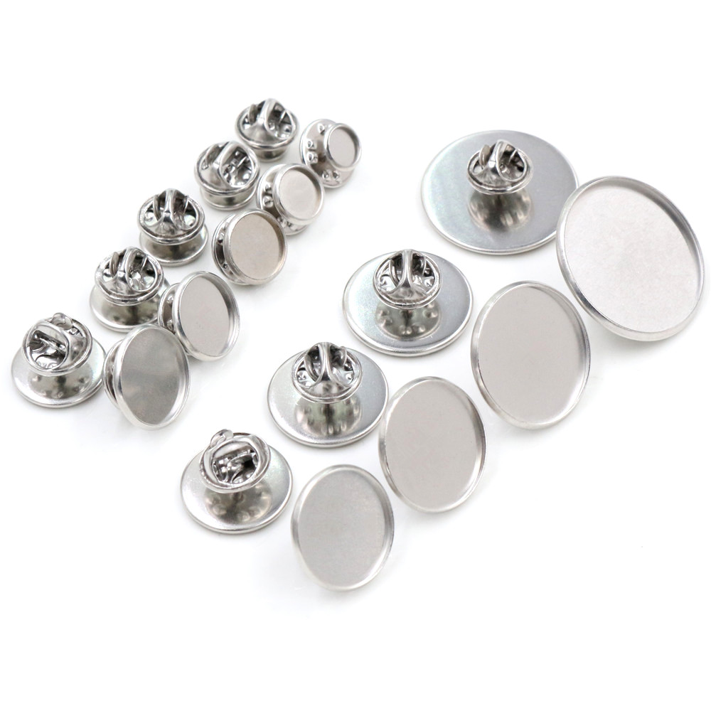 10pcs/ Lot 6/8/10/12/14/16/18/20/25mm Stainless Steel Material Brooch Style Cabochon Base Cufflink Spacer Settings Tie Tack Pins