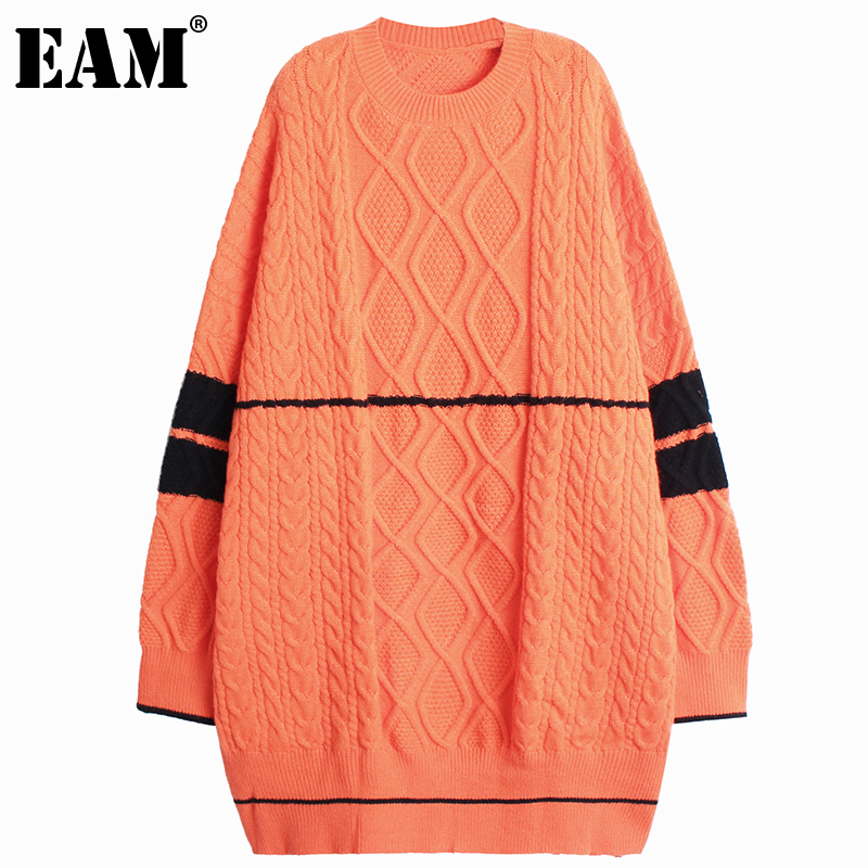 [EAM]-Vestido de punto grueso con manga larga para mujer, Vestido de punto grueso con cuello redondo, corte holgado, a la moda, para otoño e invierno, 2021