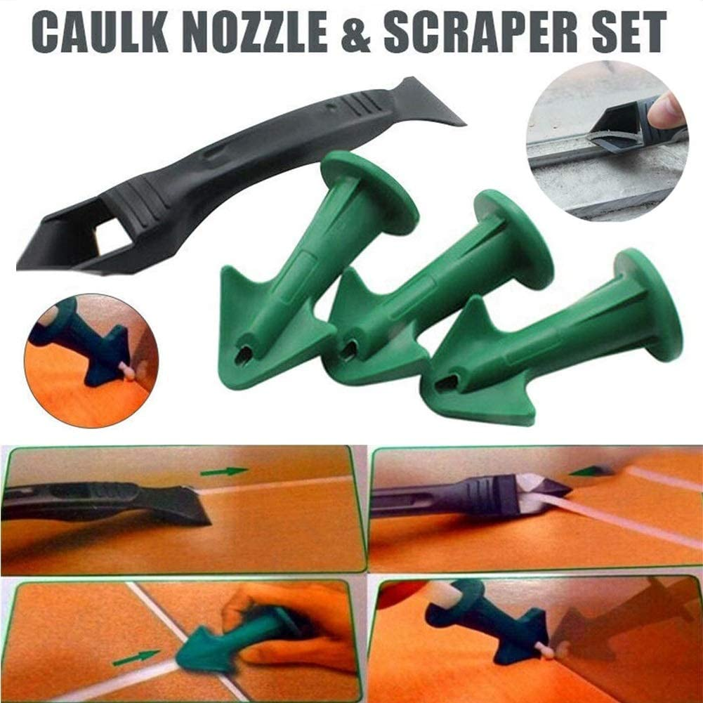 18Pcs Silicone Sealant Spreader Scraper Caulking Remover Grout Caulk Nozzle Tool