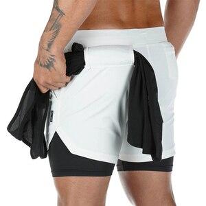 Двухслойные шорты для бега, мужские шорты 2 в 1, спортивные штаны для фитнеса со встроенным карманом, бермуды, быстросохнущие пляжные шорты, м...