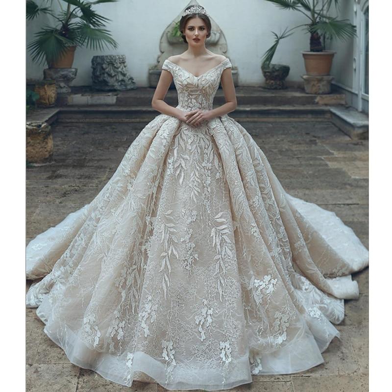Vestido De Novia Arabic Luxury V-Neck Tulle Applique Wedding Dress 2019 Elegant Off Shoulder Wedding Bridal Gowns Robe De Mariee