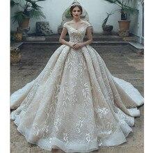 Vestido De Novia arabski luksusowy dekolt w serek tiul aplikacja suknia ślubna 2019 eleganckie Off ramię suknie ślubne dla panny młodej Robe De Mariee