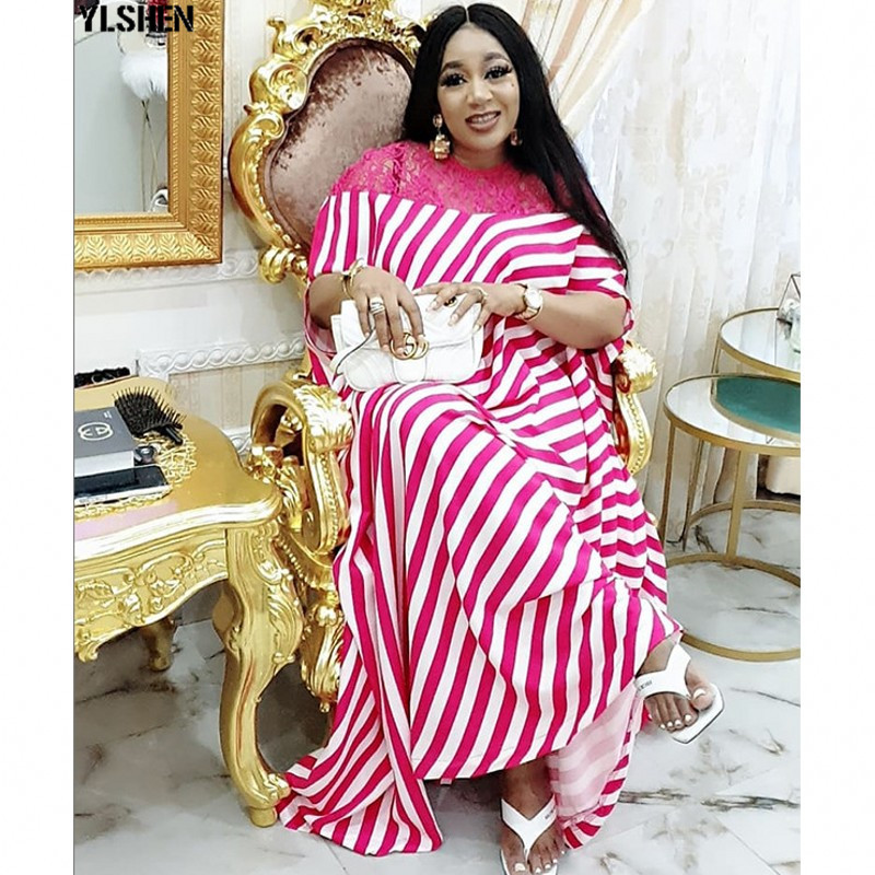 Vintage African Dresses For Women Dashiki Africa Clothing Traditional Plus Size Print Stripe Long Dress African Clothes For Lady