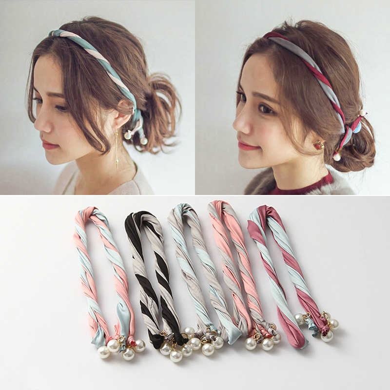 New Fashion Popular Women's Imitation Pearls Variety Personality Color Fabric Hair Band Handmade Combination Headband Wholesale