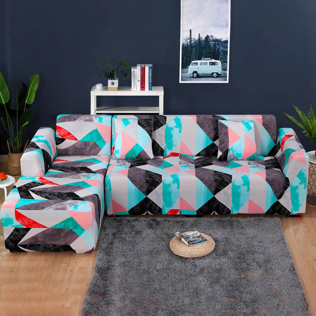 1/2 pieces Sofa Cover Set Geometric Couch Cover Elastic Sofa Cover for Living Room Pets Corner L Shaped Chaise Longue Sofa Cover 3
