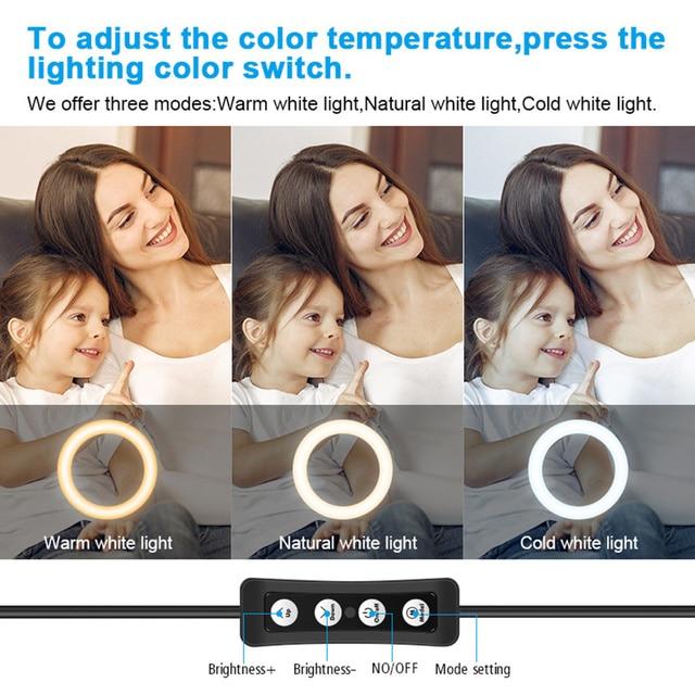 кольцевой светильник для селфи с треногой 10 дюймов приглушаемый фотография