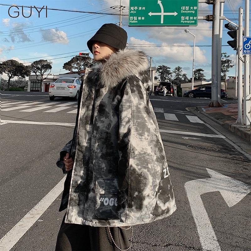 Camouflage Tie Dye Warm Thick Hooded Parkas Casual Coats Jackets Men Winter Loose Zipper Outerwear Streetwear Hip Hop Overcoat