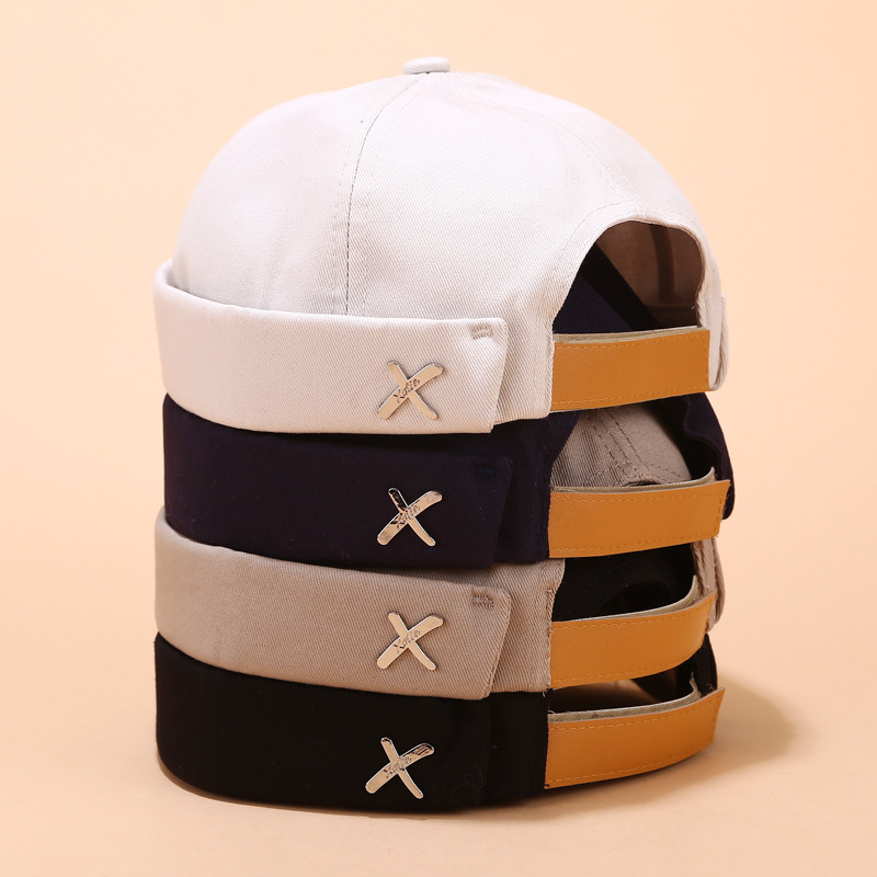 New Men's Landlord Hat Spring And Summer Ladies Street Trend Melon Leather Hats Retro Eaves Metal Standard Sailor Painter Caps