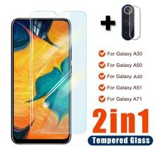 Закаленное стекло для камеры 2 в 1, стекло для экрана Samsung Galaxy A20, A20S, A30S, A50, A70, A40, A20E, стекло на Samsung A51, A71, A, 70, A, 50, A, 51, стекло