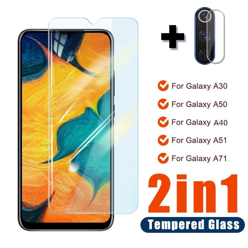 2in1 câmera vidro temperado para samsung galaxy a20 a20s a30s a50 a70 a40 a20e vidro de tela em samsung a51 a71 a 70 a 50 a 51 glass