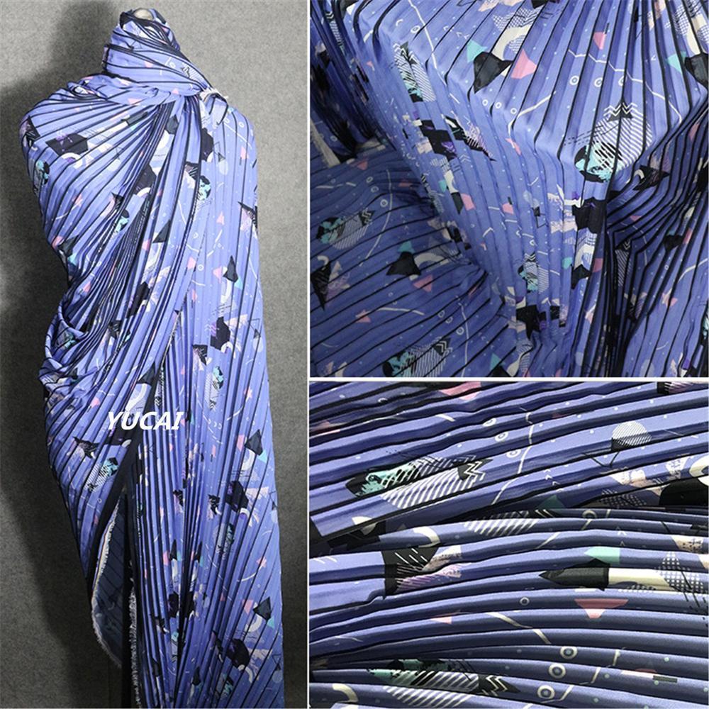 50x150cm Blue Geometric Printing 3d Pattern Chiffon Pleat Striped