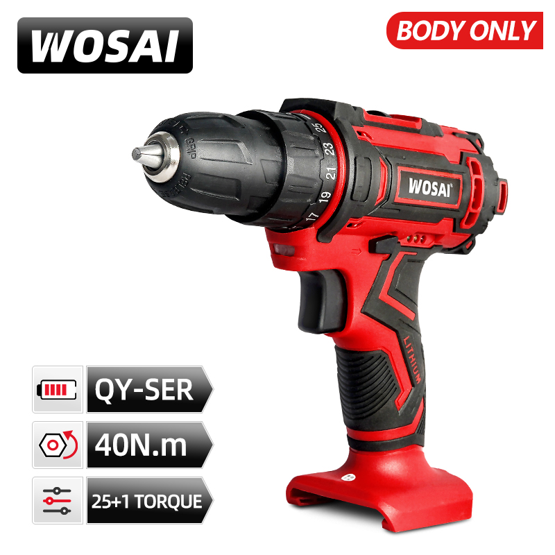 VVOSAI 20V 40N.m Cordless Drill Powerful Screwdriver 25+1 Mini Wireless Driver and Drill Woodworking Without Battery