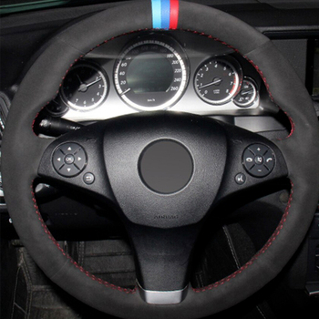 For Benz C class W204 Black Suede Red thread DIY Car Steering Wheel Cover