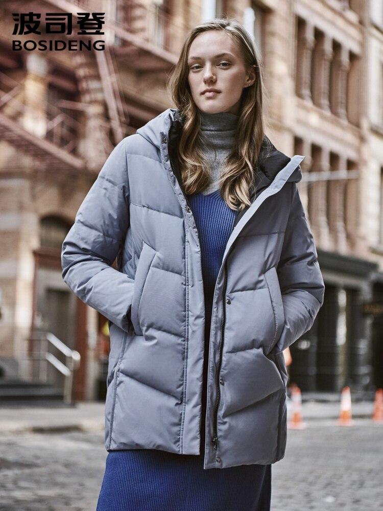 BOSIDENG Women's Down Jacket Hooded Medium Length 2019 New Mother's Winter Warm Coat B90141028
