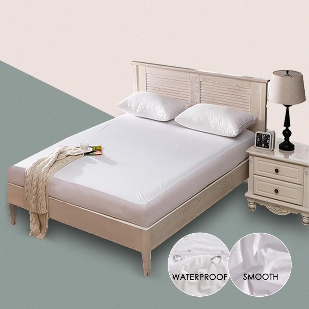 Smooth Waterproof Mattress Protector Cover For Bed Solid White Wetting Breathable Hypoallergenic Protection Pad Cover Anti-mite(China)