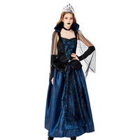 New Style Halloween Party Costume Bluelover Palace Installed Queen Count Formal Dress Vampire Service