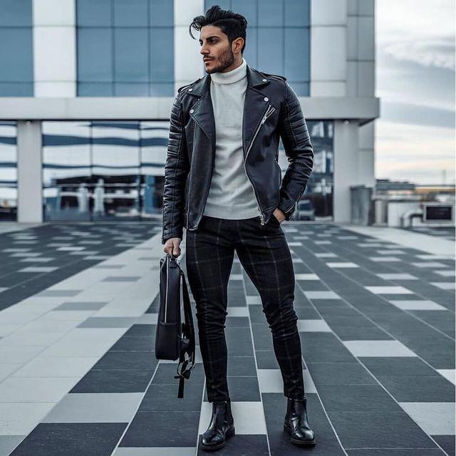 GINGTTO Mens Pants Casual Mens Trousers Skinny Super Stretch Mens Chinos Pants Slim Fit Mens Casual Pant Plaid Elastic Waist 3