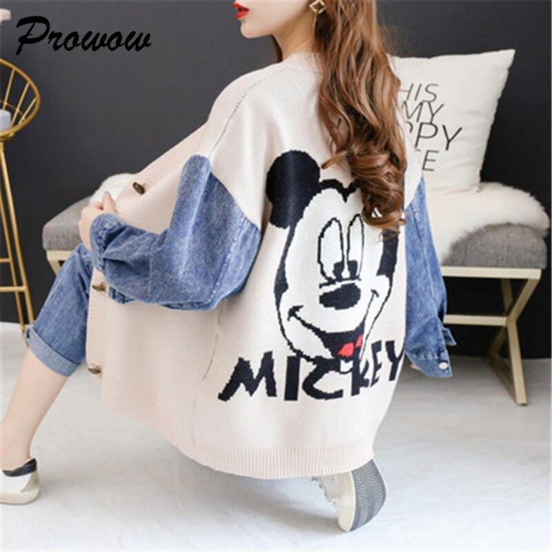 Plus Size Cartoon Cardigan Sweater Women Loose Patchwork Denim Jacket Mickey Women Knit Cardigans Sweater Outwear Female