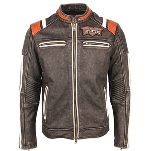 Image 2 - Мотоциклетная кожаная куртка с вышивкой черепов, винтажная Байкерская кожаная куртка из 100% натуральной воловьей кожи, зимняя мотоциклетная одежда M220