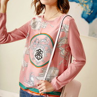 New Carriage printed silk top splicing knitwear insert round neck long sleeve sweater women